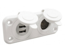 Lighter Socket and Double USB Socket Marine White Waterproof Power Adapter