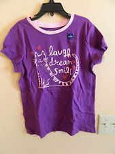"NWT Gap Kids girl purple t-shirt w/pink cat; ""laugh, dream, smile""; size XL"