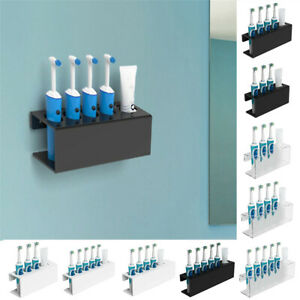 Wall Mounted Electric Toothbrush & Toothpaste Holder Rack Bathroom Storage Shelf