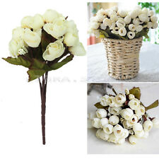 Fashion 1 Bouquet Ivory Silk Roses Artificial Flowers Garden Wedding Decoration
