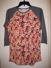 LuLaRoe Randy T Shirt Top S Bright Floral Gray Purple Peach Cream LLR New NWT