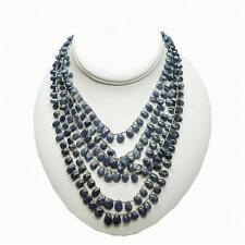Blue Sapphire Multi Strand Briolette Bead Necklace