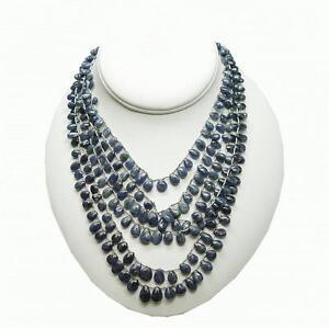 Blue Sapphire Bead Multi Strand Briolette Necklace