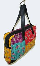 Cotton Laptop Bag Hippie Floral Carry Gypsy Handbag Vintage Patch Leather Strap