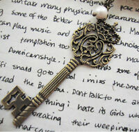 Lg Alice in Wonderland Necklace Key and Pearl Steampunk Kitsch