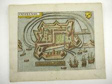 OSTENDE WESTFLANDERN BELGIEN KOL KUPFERSTICH DOPPELBL GUICCIARDINI 1609 #D884S