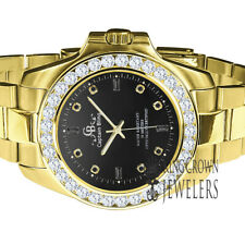 Black Onyx Dial Stainless Steel Simulated Diamonds Gold Tone Mens Watch 42mm