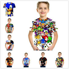 Boys Cartoon Mario Super Sonic Print Clothes 3D T-shirts Costume Children Kids