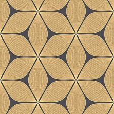 Vibration Black and Gold Glitter Retro Flower Wallpaper by Coloroll M1024