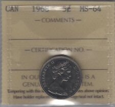 1968 Canada Five Cents (Nickel) Coin. ICCS MS-64
