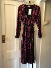 New With Tags Kitri Odile Pink & Black Sequin Midi Party Wrap Dress,12