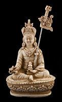 Guru Padmasambhava Rinpoche Soprammobile Tibetano di Resina Bianco Antico 14.5cm