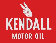 "TIN SIGN ""Kendall Motor Peace Sign"" Gas-Oil   Signs  Rustic Wall Decor"