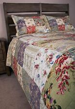Patchwork Queen Quilt Set Blooming Cottage Florals Bloomfield Cotton