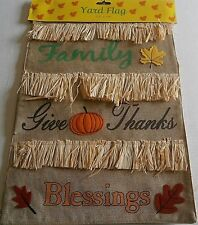 """Fall/Thanksgiving Yard Flag 12"""" x 18"""" Family/Give Thanks/Blessings Double Sided"""