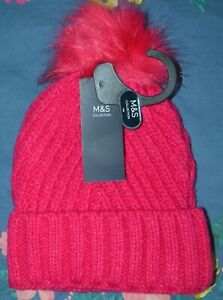 M&S COLLECTION CHUNKY KNITTED BOBBLE BEANIE HAT WITH FLUFFY POM POM - BNWT