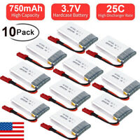 10PCS 3.7V 750mAh 25C LiPo Battery JST Plug for RC Truck Boat Airplane Drone LOT