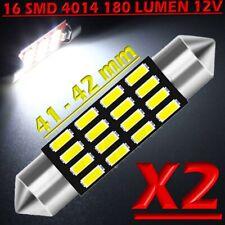 2 LAMPADINA SILURO 41 mm 16 LED SMD 4014 BIANCO luce luci interno auto TARGA 12V