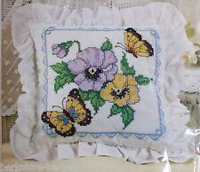 Bucilla Decorative Pillow 65524 Butterfly & Fowers Stamped Cross Stitch Kit