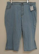 "NEW size H6 Mainstreet Blues cropped jeans light blue denim capris 39"" waist"