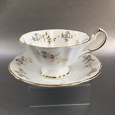 Queen Anne Periwinkle Blue Gold Lace Floral Bone China Teacup England Vintage