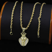 """6mm 22g//E250 24/"""" 14K GOLD PLATED HIPHOP CUBAN LINK CHAIN NECKLACE"""