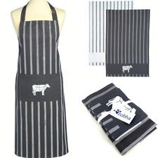 Butchers Kitchen Textile Set - Apron & 2 Tea Towels - Cotton, Gift Set