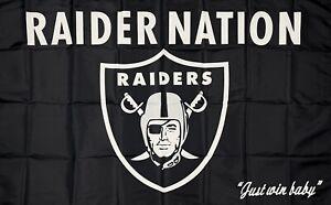 Oakland Raiders NFL Flag 3x5 ft Raider Nation Sports Banner Man-Cave Blackhole