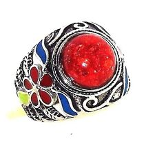 Red Coral Ring 10 carats size 6 stainless steel