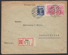 LETTONIE : Enveloppe Recommandée Affrt à 3 timbre Oblt CàDate RIGA DZ ST LATWIJA