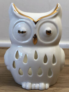 """OWL Ivory Ceramic Pierced Votive candle holder with gold trim  3.75"""" Tall Lenox"""