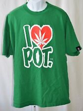 "I Love Pot Leaf Hemp Weed Green Mens 2XL 48"" Chest Made in USA Graphic T Shirt"