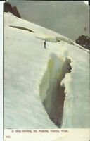 Mountain Climber Mt Rainier Seattle Washington A Deep Crevice c. 1910 Postcard