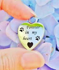 Cremation Jewelry Pendant Urn Paw Print Forever In My Heart Dog Cat Pet Always