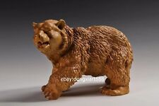 40 cm Chinese Boxwood Masterwork Lucky Animal roaring black bear wood sculpture