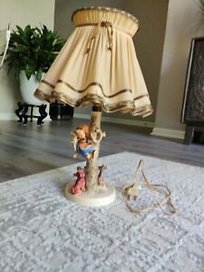 """Goebel Hummel """"Out of Danger"""" lamp with Original Lamp shade and cord"""