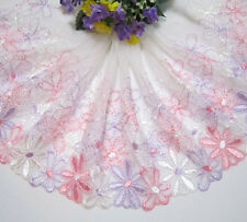 "7""*1yard Embroidery Tulle Lace Trim Sewing/Craft Pink~Lavender~White"
