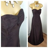 COAST Dress Silk Long Ballgown Bow Bridesmaid  Brown Size UK 16