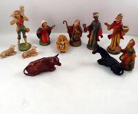 Art Plastics Nativity Mary Joseph Baby Jesus Wise Men Shepherd Animals 11 Pieces