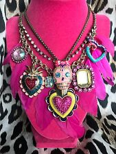 Betsey Johnson Viva La Sugar Skull Heart Dia De Los Muertos Necklace Set of 2