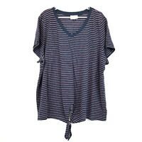 Universal Thread Blue Red Striped V Neck Short Sleeve Front Tie Shirt Womens 3X