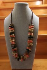 painted wooden beads Long Necklace with