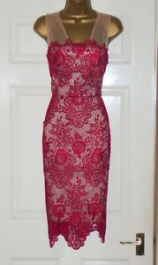 Phase Eight red nude lace pencil wiggle evening party cocktail dress size 10
