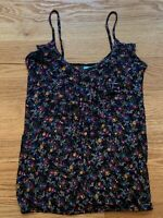 H.I.P. Womens Multicolored Floral Strappy Ruffle Cami Sleeveless Top Size Small