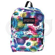 JanSport Superbreak T501 Backpack Rainbow Dye Swirls big hiking student bag New