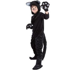 Childs Black Cat Costume Girls Halloween Animal Fancy Dress Kids Kitty Outfit