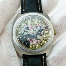 "TECHNOS,17j Wind-Up,""Hand Painted Dial"" Series1, #5,One Of A Kind! MEN'S WATCH"