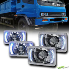 4Pcs 4X6 Chrome Glass Lens Drl White Led Headlights Headlamps H4 H4656 H4666 Vd4