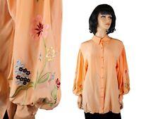 Diane von Furstenberg Blouse Sz S NWT 100% Silk Peach Embroidered Floral Shirt
