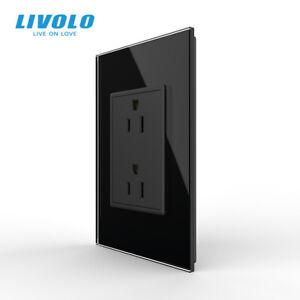 LIVOLO US AC Multi Plugs Wall Socket 2Pin Socket 15A Glass Panel Black